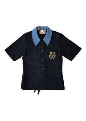 Queen Margaret Middle SS Blouse Navy/Sky