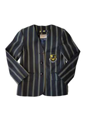 Queen Margaret Blazer LGS Navy Sky/Gold Stripes