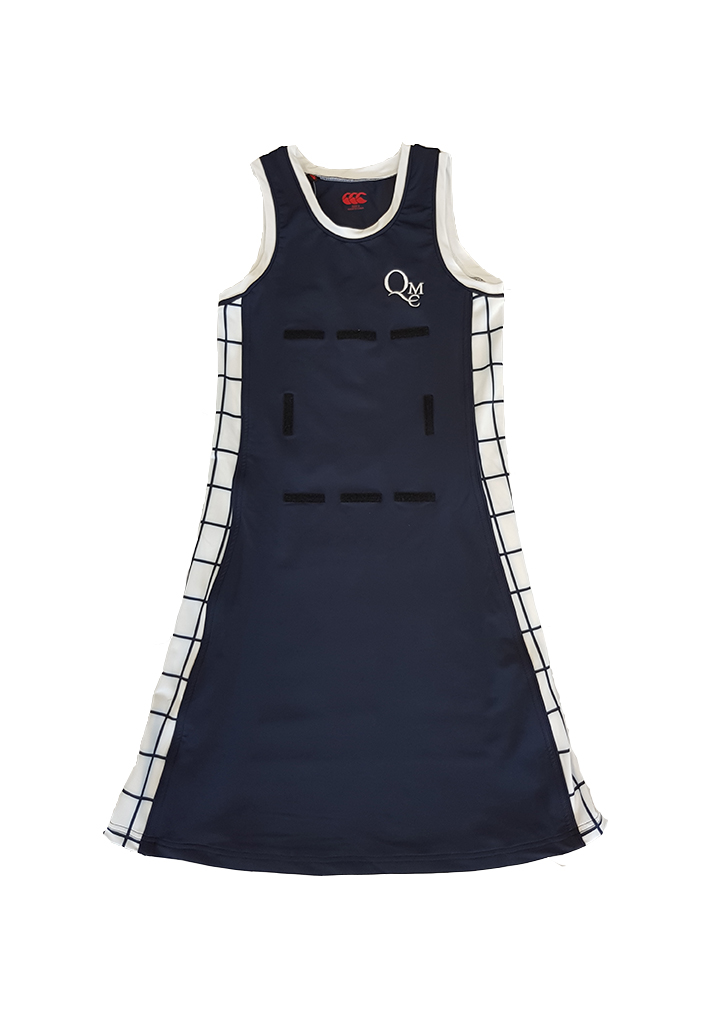 QMC Netball Dress with Squares Panels Nvy/Wht